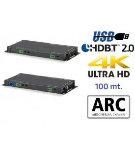 Extensor 4K HDMI - Audio - HDBaseT 2.0 - USB - 100 mts.