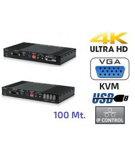 Extensor HDMI 4K - VGA - USB - KVM sobre IP - 100 mt.