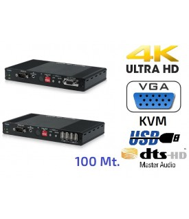 Extensor HDMI 4K - VGA - USB/KVM - Audio sobre IP - 100 mt.