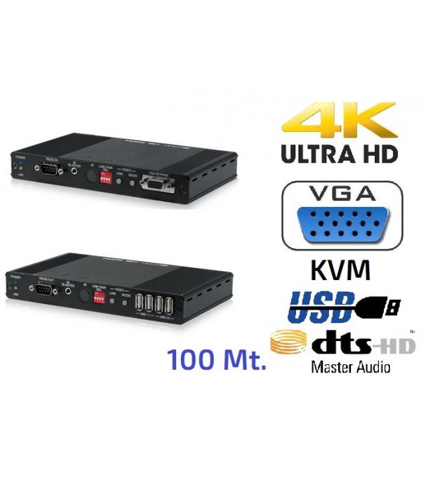 Extensor HDMI 4K - VGA - USB/KVM - Audio sobre IP - 100 mt.