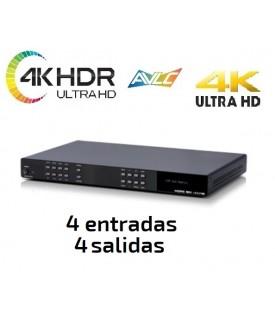 Matriz HDMI - 4KUHD / HDR - Salida Audio y Control IP (4x4)