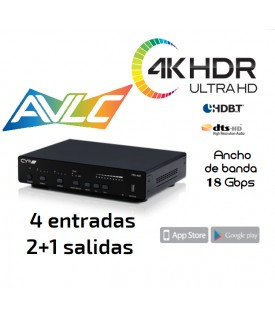 Distribuidor 4KHDR (6G) 18Gbps - Amplificador Audio - 4x2+1
