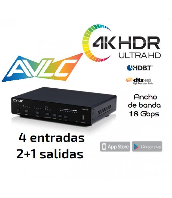 Distribuidor 4KHDR (6G) 18Gbps - Amplificador Audio - 4x2+1