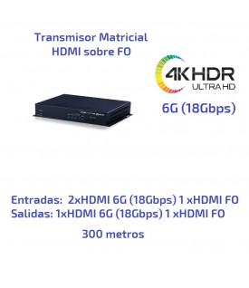 Matriz 3x2 HDMI sobre FO - 4KUHD HDR