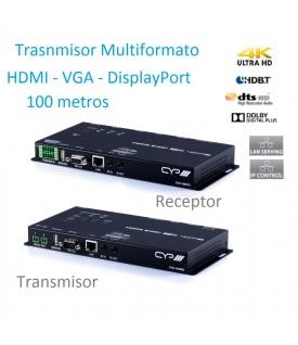 Extensor Multiformato HDMI - DisplayPort - VGA - 100 mts.