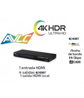 Distribuidor 1x4 - 4K HDR (6G) - HDBaseT - 18Gbps