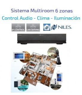 Multi-room Amplificador de Audio, Control de clima e iluminación de 6 zonas NILES