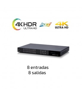 8x8 Matriz HDMI - 4KUHD - HDR - Salida Audio y Control IP