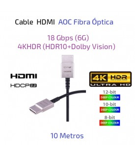 Cable HDMI AOC Fibra Óptica 10 metros - 18Gbps (6G) 4KHDR (HDR10+Dolby Vision)