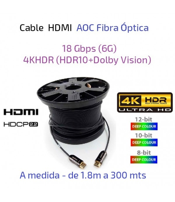 Cable HDMI AOC Fibra Óptica a medida - 18Gbps (6G) 4KHDR (HDR10+Dolby Vision)