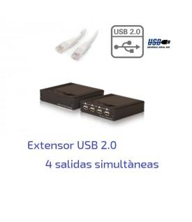 Extensor USB 2.0 sobre CAT5/6 UTP - 100 metros