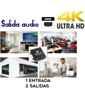 1x2 Distribuidor y escalador HDMI con extractor de audio