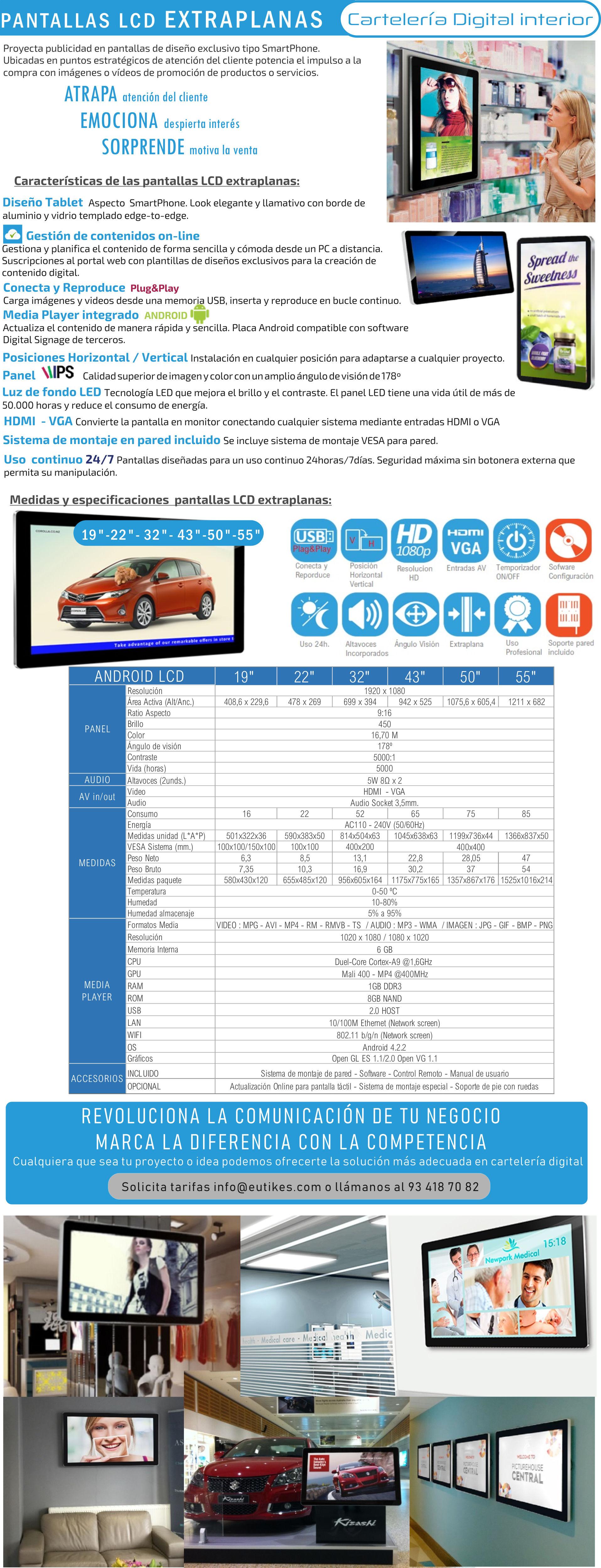 Pantallas para publicidad y televisores LCD para señalización Digital Extraplanas