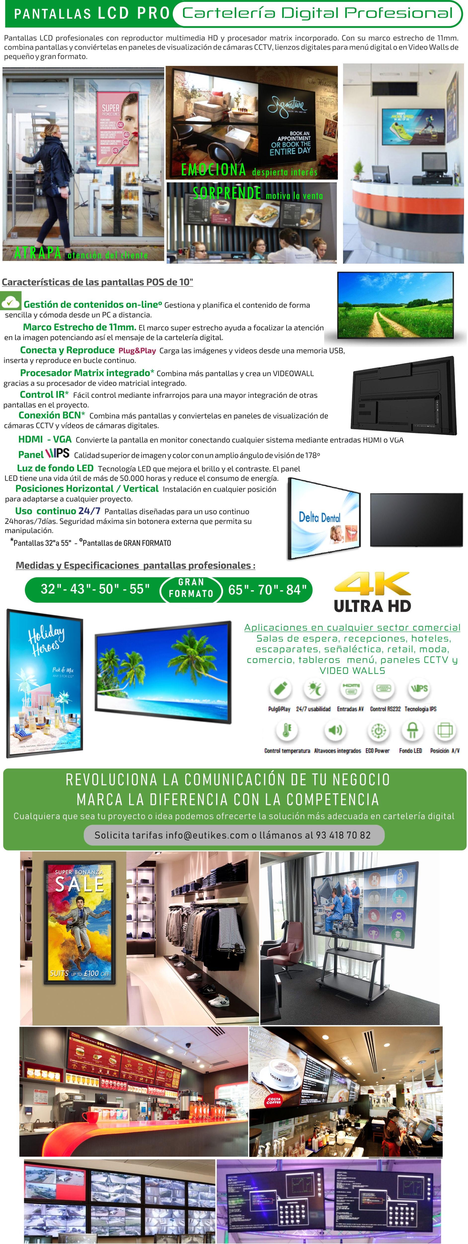 Pantallas para publicidad profesionales 4K - pantallas salas de control y menus digitales
