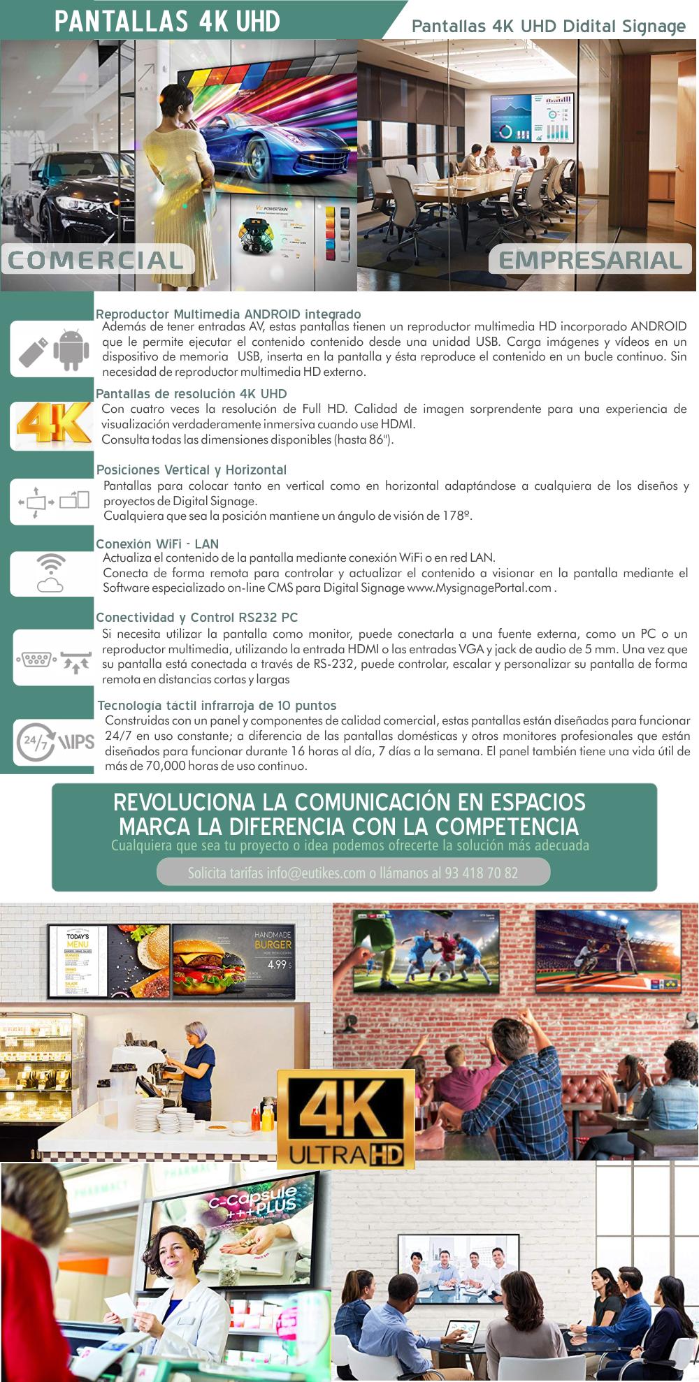 EUTIKES - Pantallas 4KUHD para Digital Signage