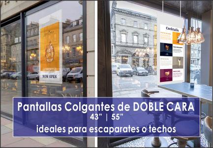 EUTIKES - Pantallas Publicitarias colgantes de doble cara para techos y escaparates