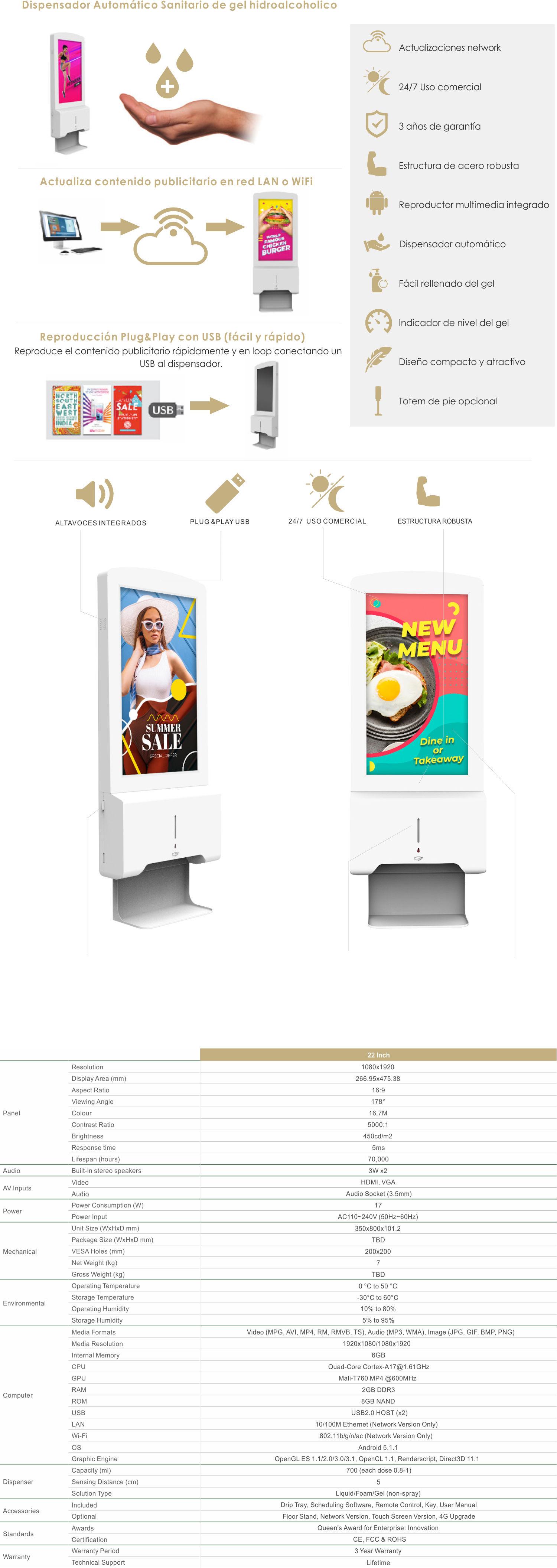 Dispensador de gel hidroalcoholico con pantalla publicitaria